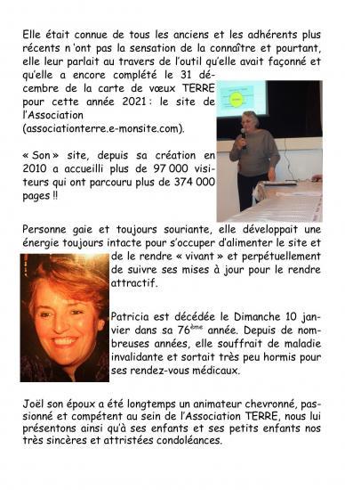 Triste nouvelle : décès de Patricia COMPIN, notre webmaster.